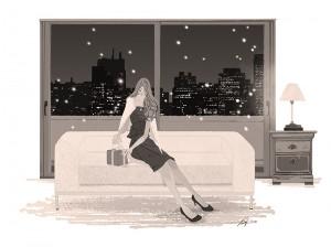 夜景 ソファ プレゼント ドレス ワンピース 女性 ファッション イラスト