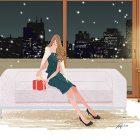 ソファに座りプレゼントを用意するドレスの女性のイラスト