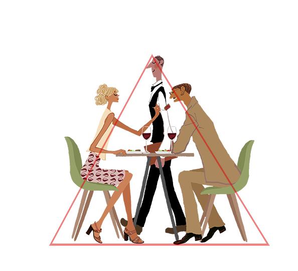 三角構図_レストランで食事するカップルとウェイターのイラスト