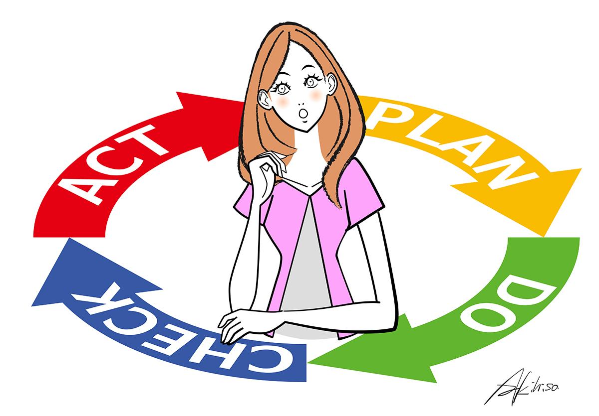 PDCAを回して仕事する女性のイラスト