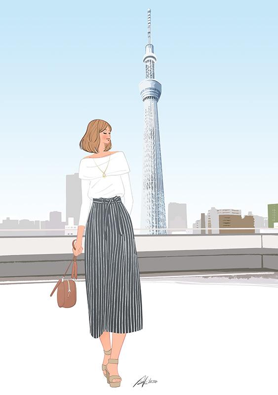 東京スカイツリー 女性イラスト