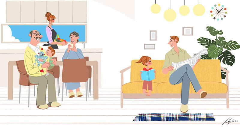 家族でリビングに座りくつろぐ,インテリア,住まい