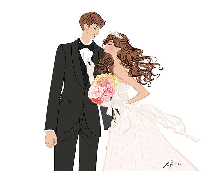 ウェディング,結婚式の新郎新婦のイラスト,ウェルカムボード用