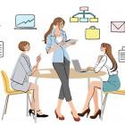 オフィスで打ち合わせする女の子たち,OL,会社,会議