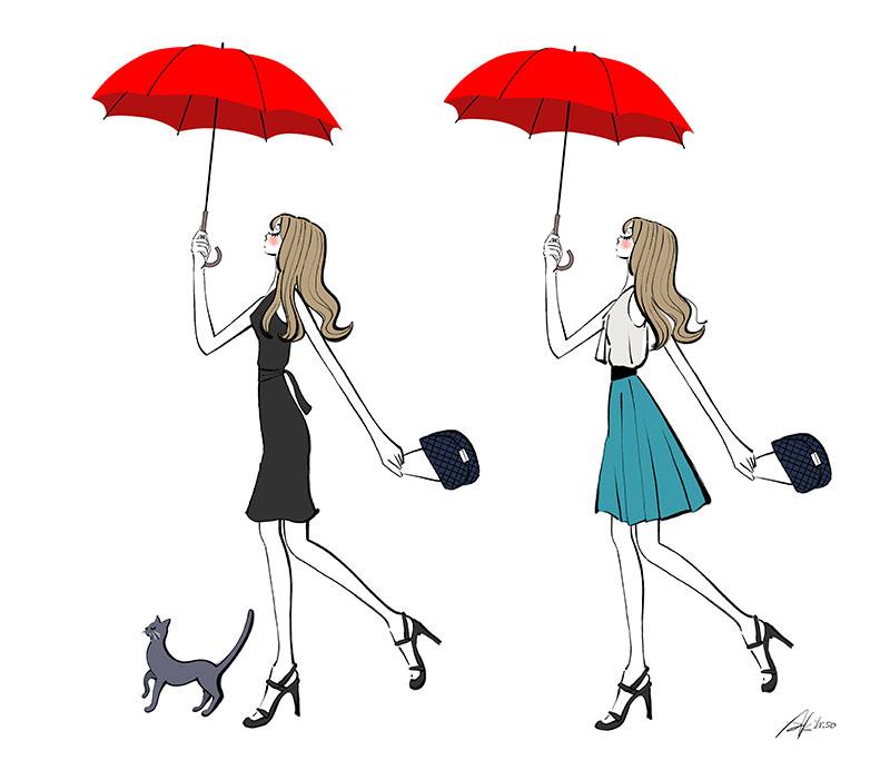傘をさして歩く女の子と猫のイラスト