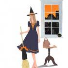ハロウィン 箒を持つ女の子のイラスト