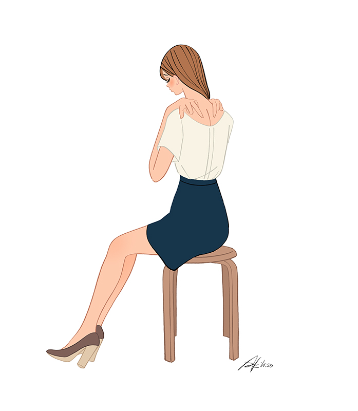 肩こり解消のツボを押す女の子のイラスト