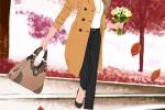 秋 紅葉 花束を持って階段を降りるコートの女性のイラスト