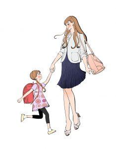 手をつないで一緒に帰る ランドセルを背負った女の子と仕事帰りのママのイラスト