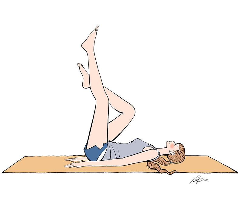 足をあげて腹筋運動,体操,寝る,エクササイズ