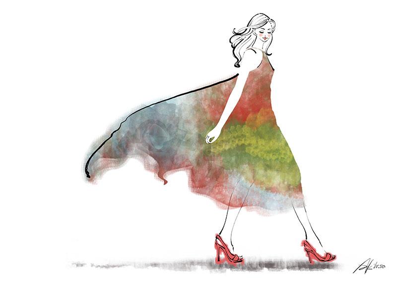 ドレスを着て歩く女性のイラスト