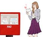 日本郵便,ゆうパケット,ポスト,手紙,荷物,女性向けイラスト