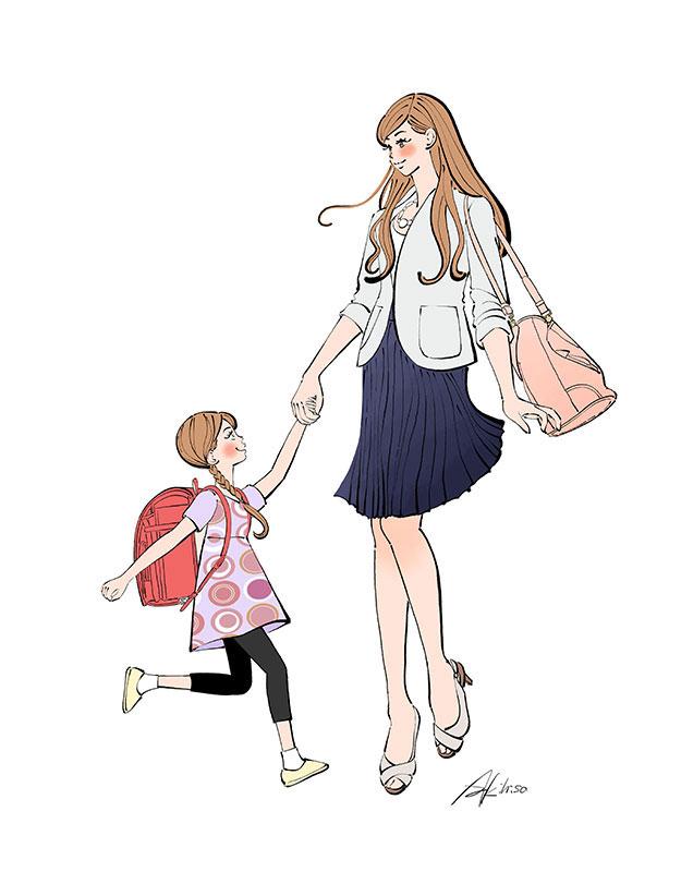 手をつなぐママと女の子,小学生,ランドセル,仕事帰りの女性,イラスト作成のご依頼