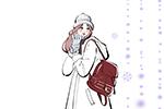 冬,雪の中を歩く女の子,手袋,コート,帽子,イラスト