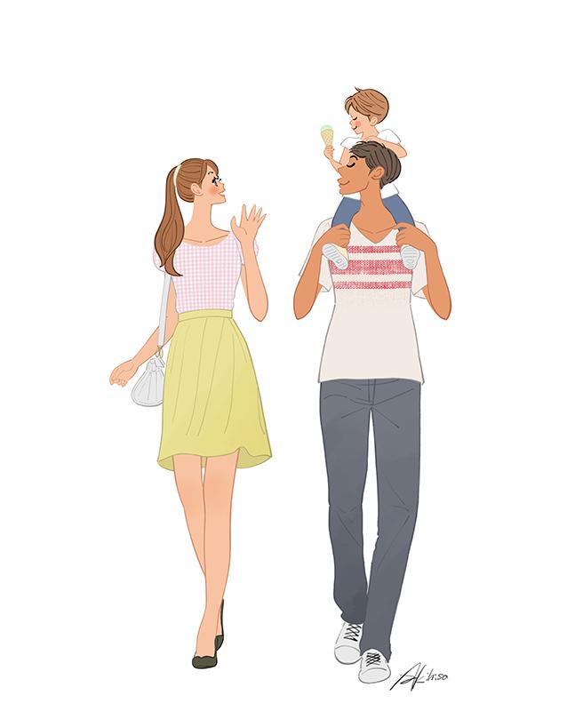 家族,パパとママと子供,肩車,ファミリー,イラスト作成