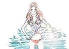 海,水着,女性,イラスト作成のご依頼
