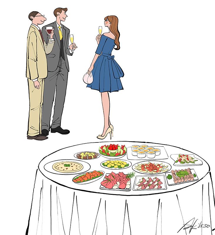立食パーティ,ドレス,ビュッフェ,イラスト作成のご依頼
