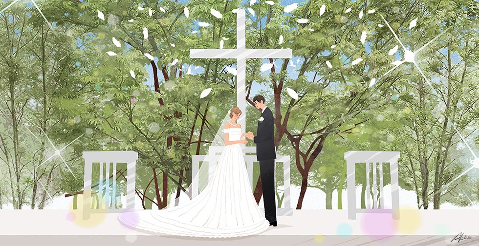 ウェディング,結婚式,新郎新婦,教会