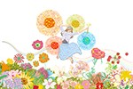 花束、花に囲まれる女性,ジャンプする女性