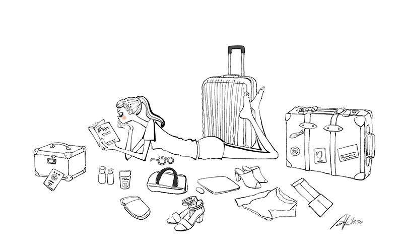 旅行の準備をする女の子,スーツケース,読書,寝転ぶ,うつ伏せ,イラスト制作