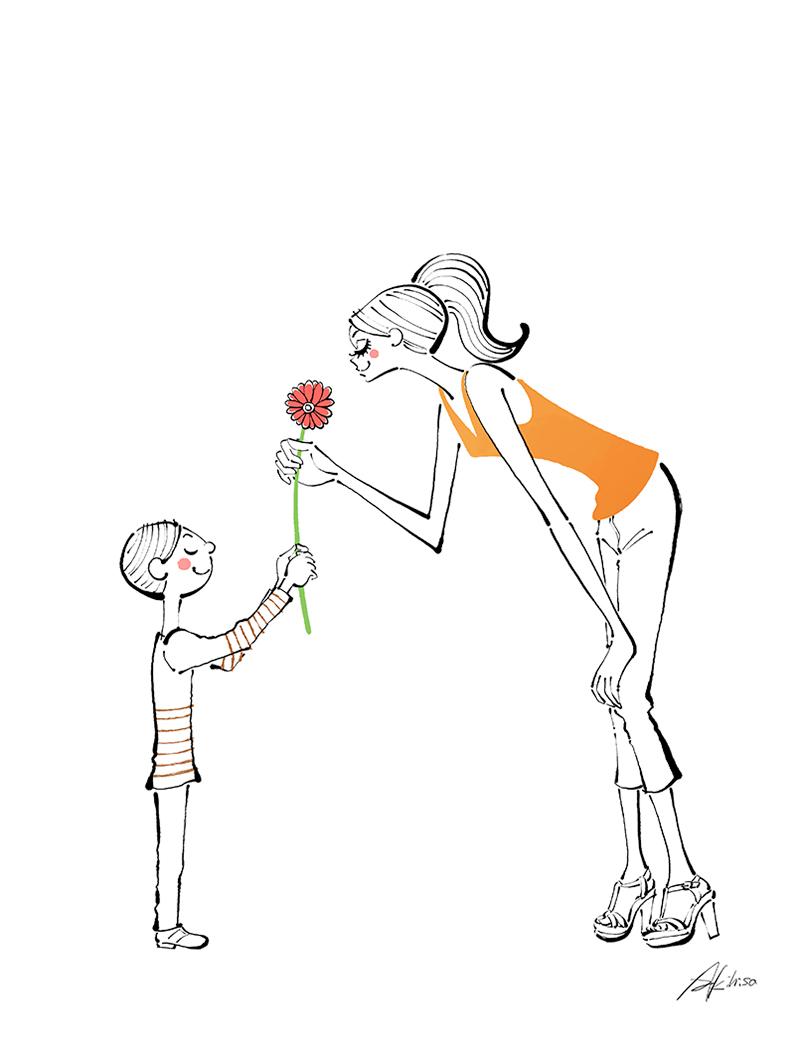 花の日。花をプレゼントする男の子とママ。イラスト作成のご依頼