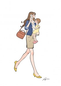 作品NO.iof136 プースカフェジョブ,働くママ,子育て,親子,走る,仕事,イラスト作成