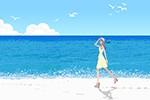 海辺,砂浜,歩く,女性,夏,ワンピース,女性,イラスト作成のご依頼