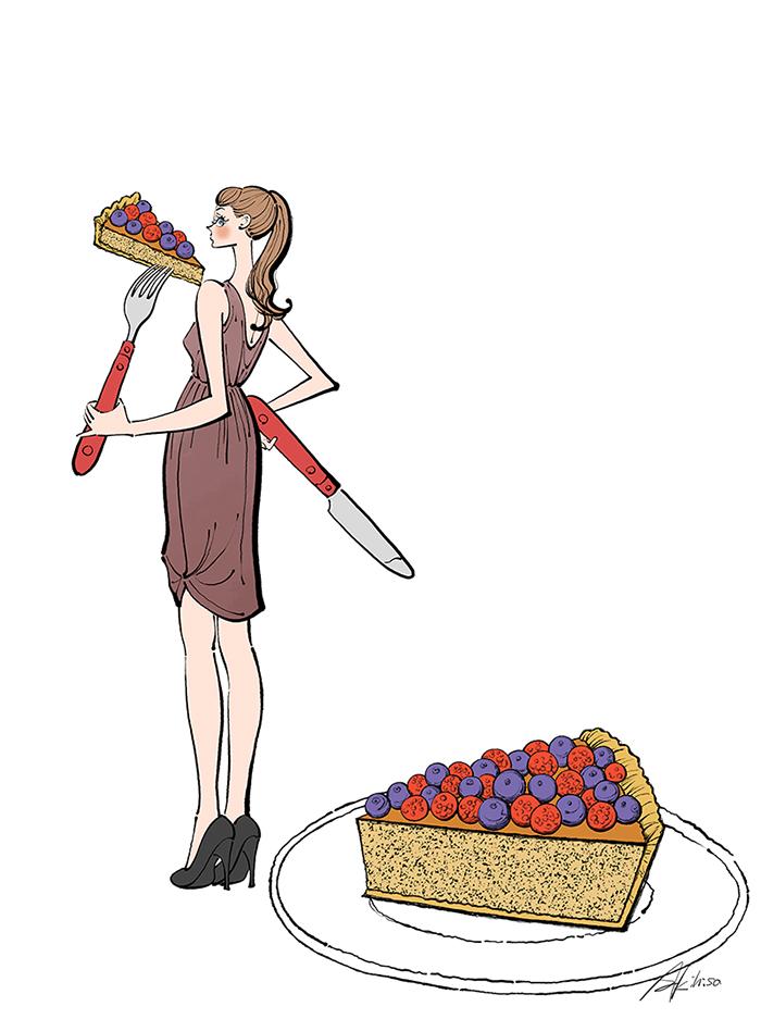ケーキ,タルト,食べる,女性,ドレス,ワンピース,イラスト制作