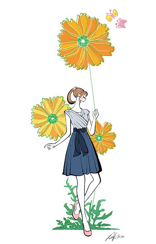 花と女性 花を持つ イラスト作成のご依頼