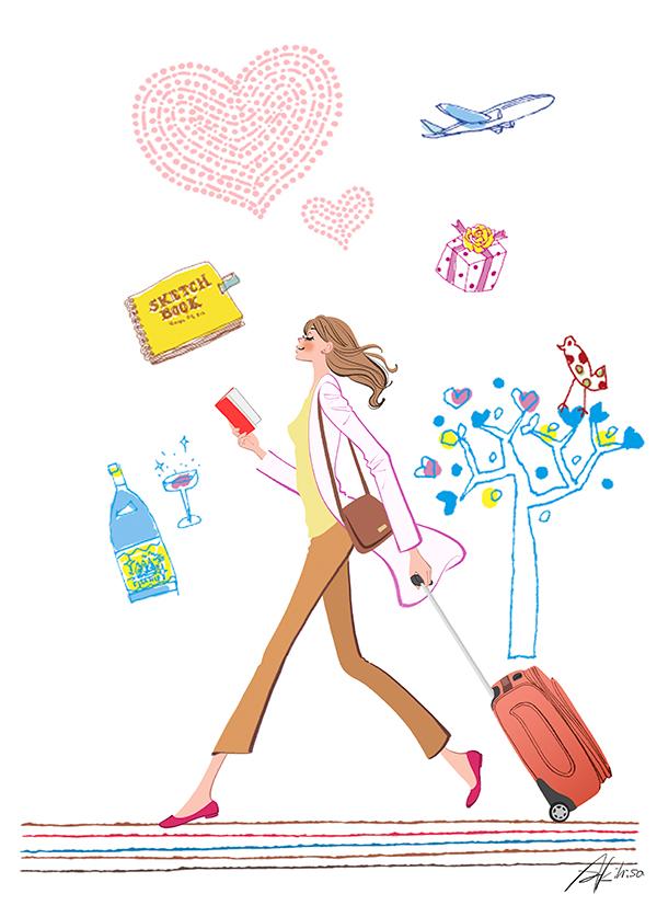 海外旅行,スーツケース,キャリーケース,女性,イラスト作成のご依頼
