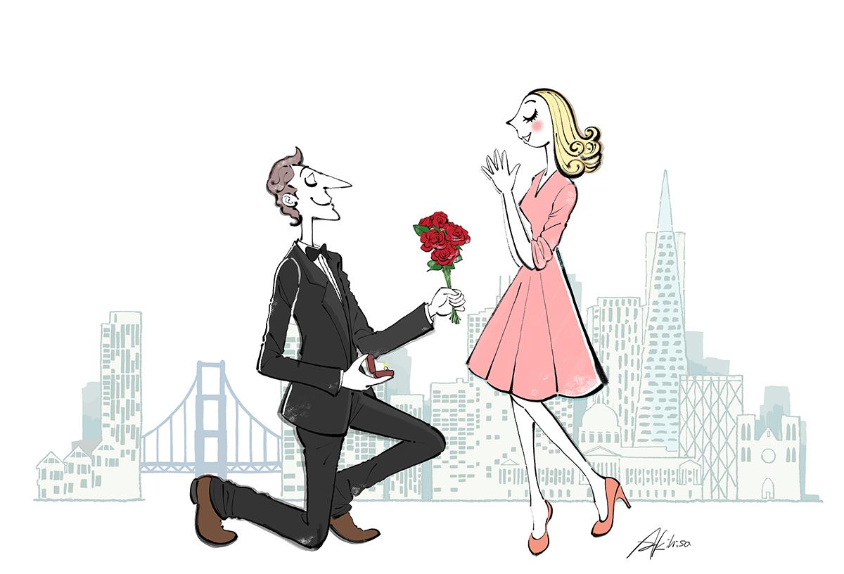 バラの花束と指輪を渡し愛を告白する男性のイラスト/結婚を申し込むイラスト/恋愛、カップルのイラスト