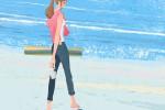 illustration No.iof202。浜辺を歩く,女性のイラスト