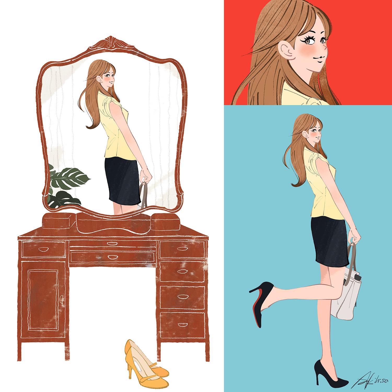 おしゃれして、鏡を見る女の子。 | イラストレーターakihisasawada