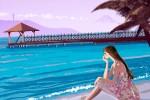 海,海辺に座る,女性,夏,浜辺,イラスト