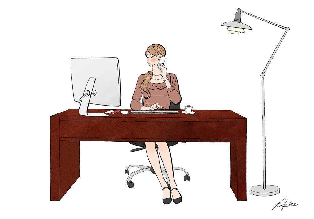 デスクに座り、パソコンで仕事をする女性のイラスト