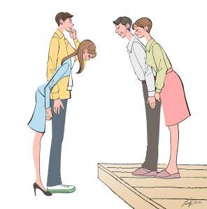 結婚相手の女の子を実家の両親のもとへ挨拶に連れて行く男性。結婚準備、カップルのイラスト。