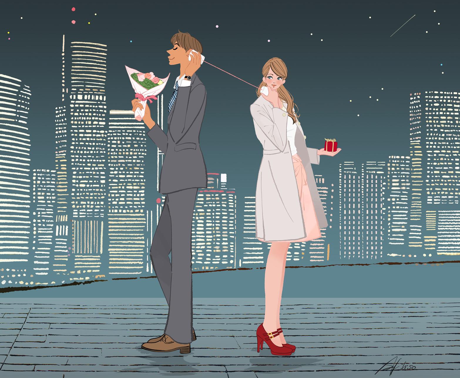 夜景の近い港で糸電話で話すカップルのイラスト