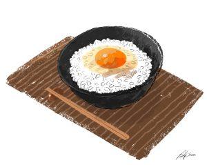 卵かけご飯のイラスト