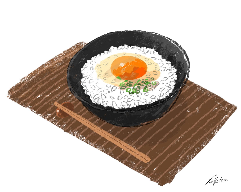 卵かけご飯のイラスト ネギをちらす