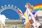 世界旅行する女性のイラスト