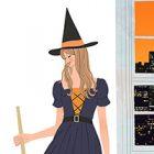 ハロウィン・魔女に仮装する女の子のイラスト