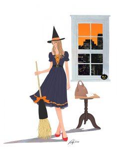 ハロウィン 仮装(コスプレ)する女性のイラスト