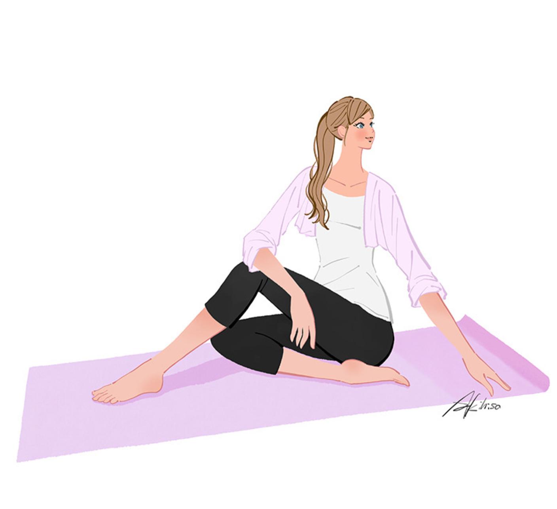 腰をひねる運動で腰痛解消のイラスト
