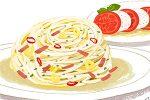 イラスト/村上春樹「ハムのペペロンチーノとモッツァレラチーズとトマトのサラダ」
