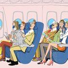イラスト/飛行機で機内食を待つ