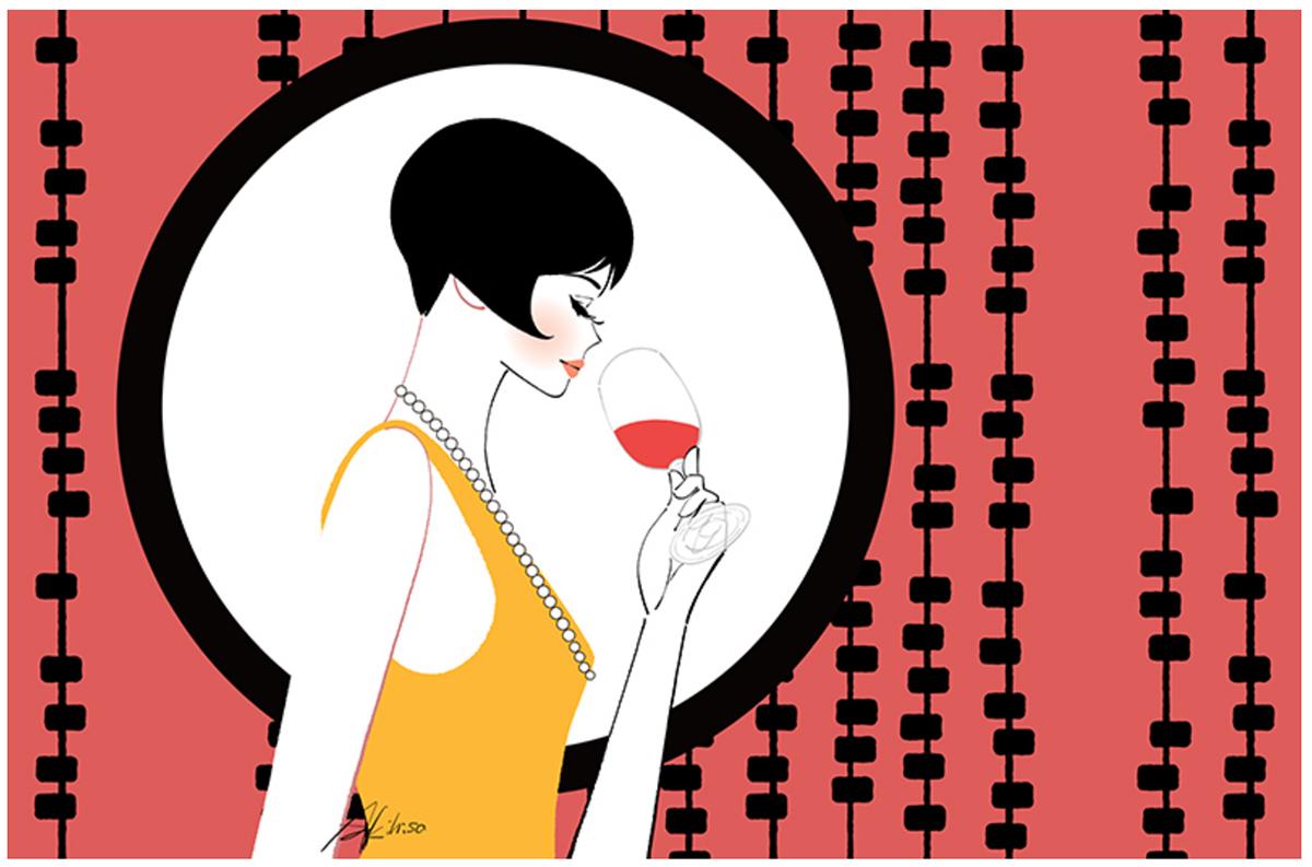 大正・昭和の女性・モダンガール。ワインをたしなむ女性のイラスト