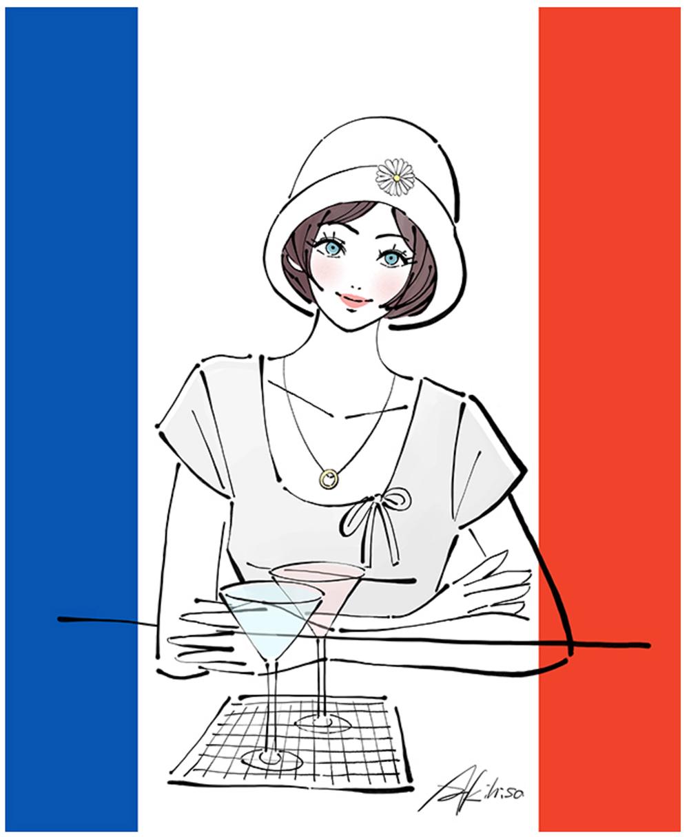 大正・昭和の女性・モダンガールのイラスト。カフェで過ごす