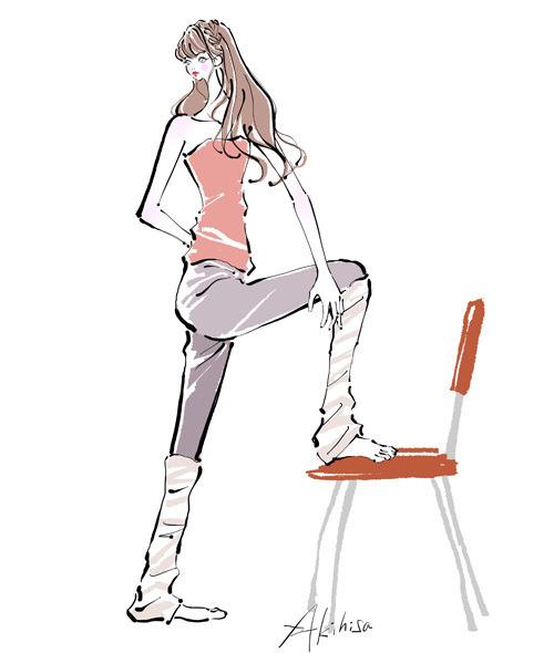 締まったウエストを作る体操をする女性のイラスト