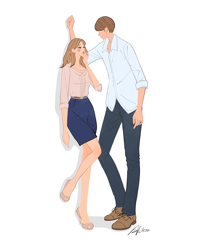 壁ドンするカップル、恋人のイラスト