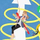 働く、仕事する女性のイラスト_PDCAを回す